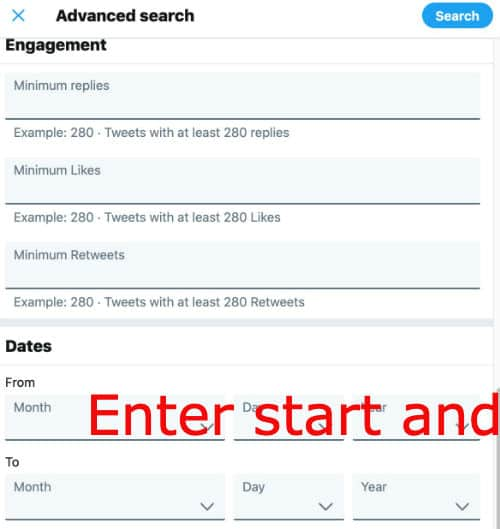 search old tweets Twitter advanced search calendar