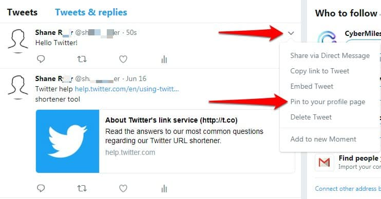 pin a tweet to your profile on desktop