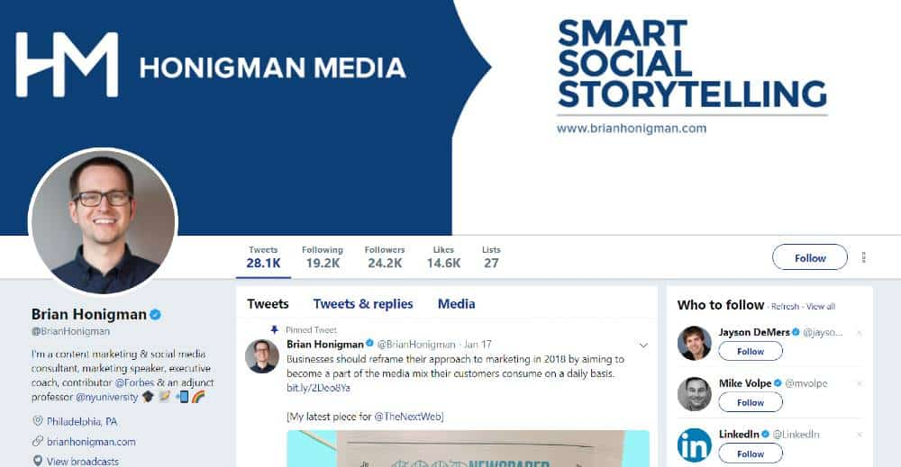 Brian-Honigman Twitter Profile