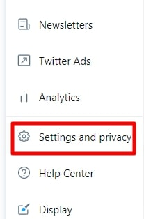 go to twitter Settings and Privacy on mobile app